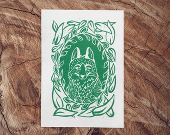 Forest Fox Portrait Linocut Print