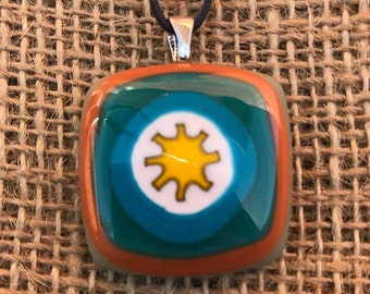 Retro Fused Pendant in Brown, Teal and Green Layers, Handcrafted Jewellery, Hand Made Jewelry, Mod Jewellery, Fused Glass Pendant, Necklace