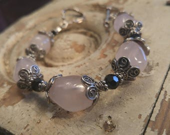 Rose quartz, Swarovski crystal and silver bracelet