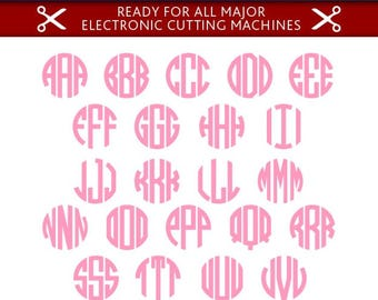 Circle Monogram Svg Circle Monogram Font Svg Circle Monogram Alphabet Cut Files Silhouette Studio Cricut Svg Dxf Jpg Png Eps Pdf Ai Cdr
