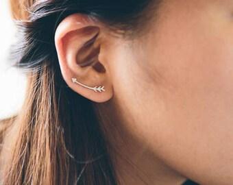 Curved Arrow Ear Pin Earrings (3 colors)