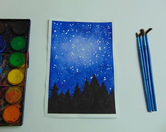 Watercolor Galaxy Forest