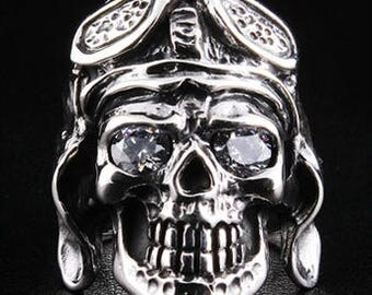 Fatboy Silver 925 Sterling Silver Aviator Skull Ring WW2 AXIS Pilot Ring with Diamond Eyes Heavy & Thick Highest Quality Rocker Biker Ring