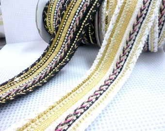 "At Choose Fabric Black or White Wide Trimming/ Ethnic Trimming/ of 50 mm 1,97"" pack one meter 3/28 ft"