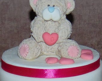 "Edible tatty teddy cake topper on a 6"" board"
