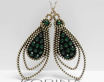 Zipper Earrings - Elegant Long Earrings - Zipper Jewelry - Glass Bead Jewelry - Glass Bead Earrings - Dark Green