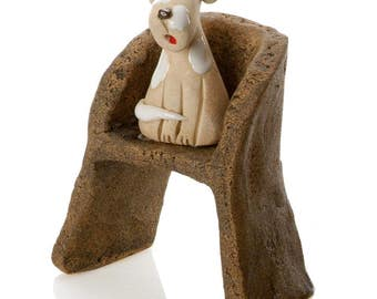 Scruffy |  Cross Breed sitting on Armchair | Gift for A dog Lover | Quirky Ceramic Ornament