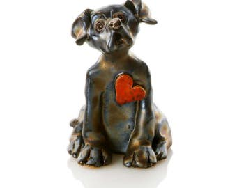 Ceramic Black Labrador | Red Heart | Dog Lovers | Quirky Gift
