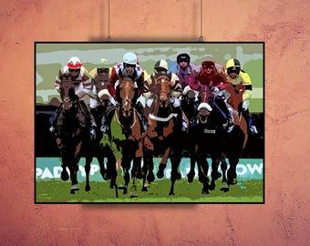 Horse Racing, Kentucky Derby, Print or Canvas, Horse Race Wall Art, Belmont, Preakness Picture, Race Horse Decor, Horse Fan Gift, Sports Art