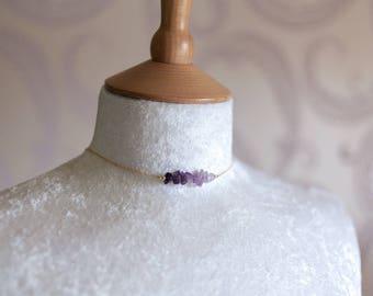 Amethyst Raw Semi Precious Gemstone Necklace Choker in a Gradient on a 14K Gold Fill Chain