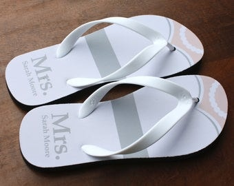 Mrs./Mrs. Flip Flops - Personalized Bride Flip Flops (print design as pictured)