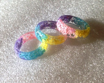Rainbow Resin Ring, Fairy Kei, Resin Ring, Kawaii Kei, Pastel Goth Ring, Kawaii Resin Ring, Rainbow Ring, Resin Jewelry,