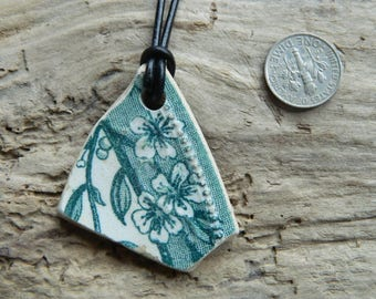 Vintage Pottery Shard Pendant Necklace