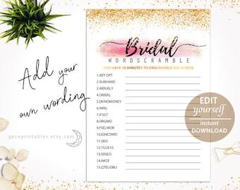 Editable Pdf Bridal Shower Word Scramble: Printable Bridal Games, Bridal Scramble, Download, Wedding Shower Activity, Unscramble, Gold - 004