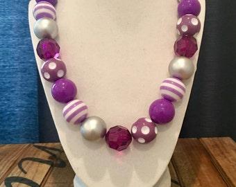 Shades of Purple Bubble Gum Necklace