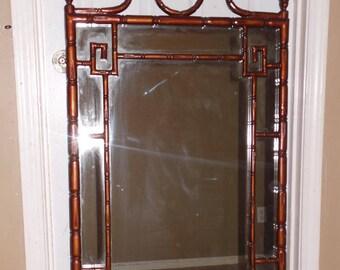 Faux Bamboo Pagoda Greek Key Chinoiserie Mirror- Hollywood Regency