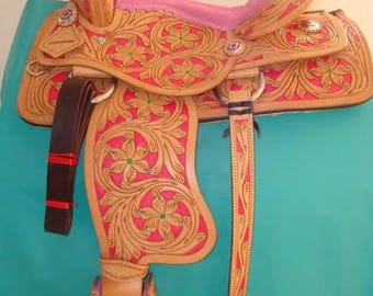Western Horse Saddle (Pink) Leather Hand Crafted