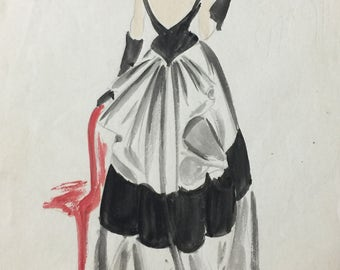 French Fashion Watercolor Vintage