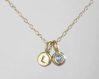 Unique Handcrafted 14k Gold Initial Letter and Birthstone Charms Necklace * Personalize Customize for Mother, Wife, Girlfriend