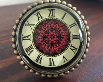 Roman numerals Knob / Beaded knob / Beaded Brass Knob / Red black knob / knob / drawer pull / dresser knob