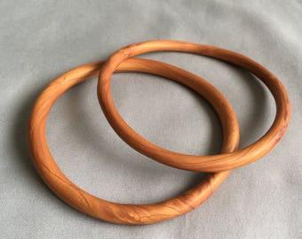 Polymer Clay Faux Wood Bangle Set