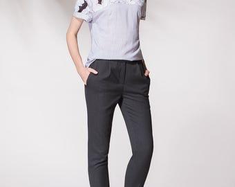 Fashionable blouse, Short sleeve blouse, 100% viscose, Summer blouse, Loose blouse,  Office blouse