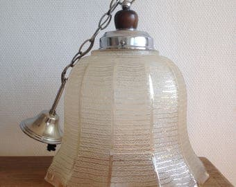 Large hanging Bell - glass, metal and wood - rustic
