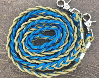 Gold and blue paracord clip-on reins
