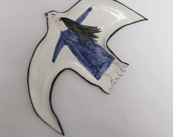 Night flight on the wings of the bird - ceramic plate, spoon rest