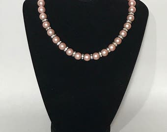 50% OFF | 1950s | Vintage Pink | Faux Pearl Necklace