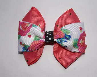 Roses and Polka Dots Double Boutique Hair Bow