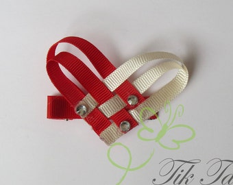 Heart hair clips. Ribbon. Bows. Clips. Red. Love.