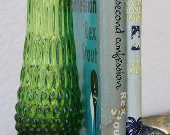 Green Hobnail - Green Glass Vase - Hobnail Vase - Green Hobnail Vase - Hobnail Swung Vase - Green Vase - Vintage Hobnail Vase - Mid Century