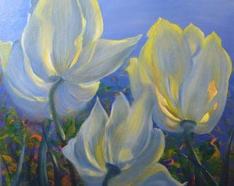 Blue Tulips - original oil painting