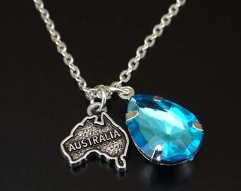 Australia Necklace, Australia Charm, Australia Pendant, Australia Jewelry, Australia Map Necklace, Australia Map Jewelry, Australian Gifts