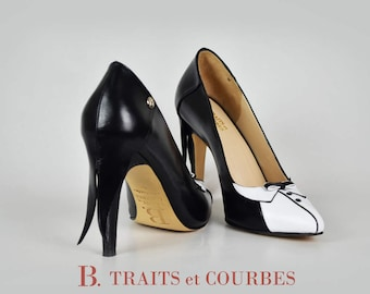 Scarpin | Black Tie | High Heels | Women's Shoe | Handcrafted Leather Shoes | Black and White Shoes