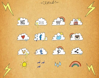 Social Media Icons, Weather Web Icons, Blog Icons, Clouds, 3 Sizes for each, Transparent PNG files, PSD, Facebook, Twitter, Instagram etc.