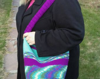 Purple multicolored hobo style bag
