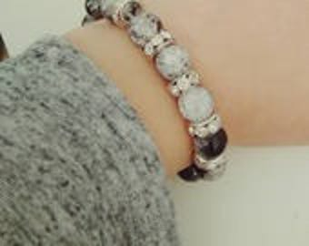 Glass and hematite beads women bracelet