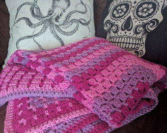 Striped Modern Granny Rectangle Crochet Blanket/Afghan in Light Pink, Dark Pink and Purple
