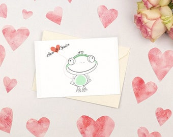 Nice wedding invitation with frog. Simple and witty. Custom wedding invitations.