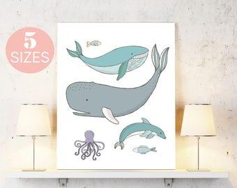 Whale art, nursery boy art, costal nursery, sea ocean art, nursery print, fish art, boy room art, printable wall art, inspirational art