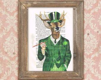 Gentleman deer print,vintage deer, dandy deer, Oscar Wilde,  deer painting, deer illustration, antlers, stags, hunter print