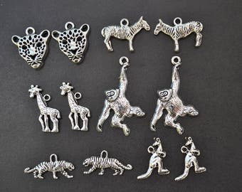 Zoo Animal Charm Collection, Set of 12 Silver Charms, Jungle, Safari, Tiger, Kangaroo, Giraffe, Ape, Assorted, Mix, Lot, Theme, Mixed (CC24)