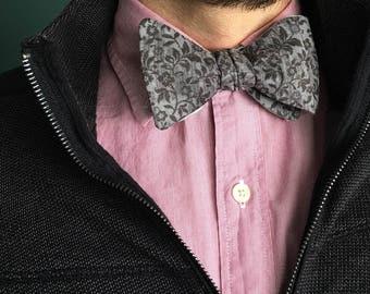 Gray Flower Bow Tie