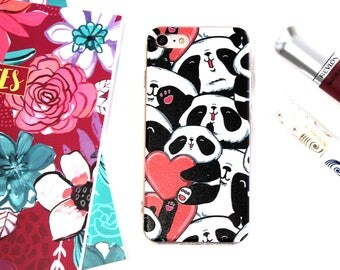iPhone 7 Soft Silicone Panda Hearts Cell Phone Case, Happy Panda iPhone 7 Case, Birthday Gift For Daughter, Cool Gifts Under 20 For Her