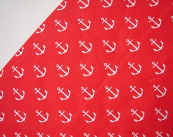 Red Anchor Fabric, 100% cotton, 63 Inches Wide - fabric By the  kids cotton