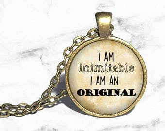 I am inimitable, I am an original, Hamilton Musical Necklace, Lin Manuel Miranda, Musical Theatre, Broadway Westend Necklace Keychain