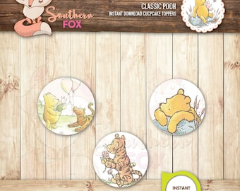Classic Pooh Cupcake Toppers-Instant Download 12 Designs + 9 Ruffles - Classic Pooh, Winnie the Pooh Cupcake Toppers