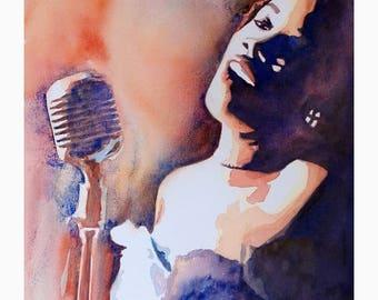 Watercolor Painting Jazz Musician - Sarah Vaughan